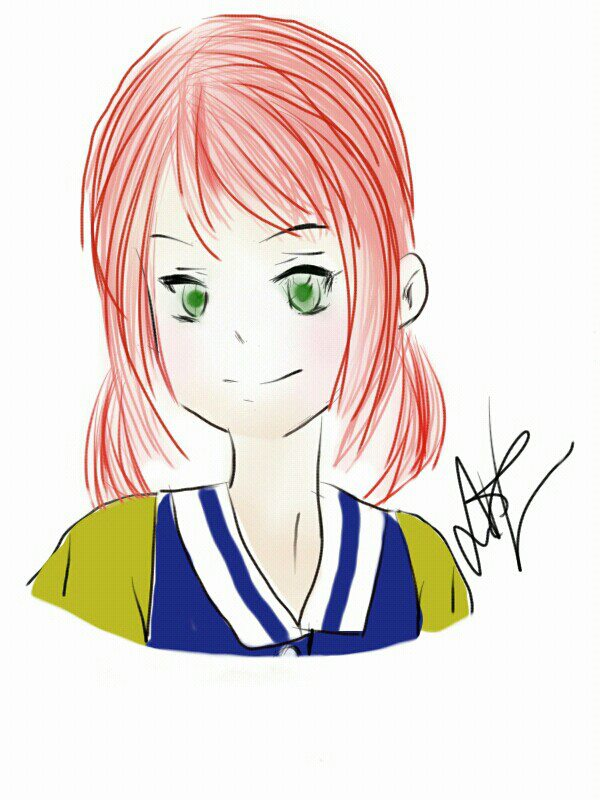 Just something I drew a while ago in SketchBookX since my younger requested that I draw a girl with red hair and green, emerald eyes.